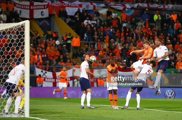Matthijs de Ligt of the Netherlands scores his team's first goal with a header during the UEFA Nations League SemiFinal match between the Netherlands...