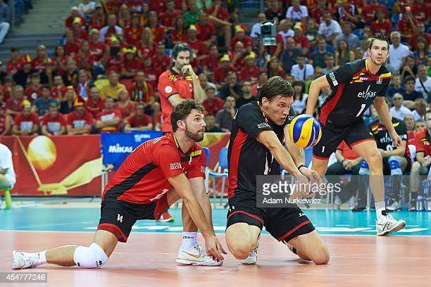 Matthijs Verhanneman of Belgium receives the ball during the FIVB World Championships match between Belgium and Iran at Cracow Arena on September 6,...