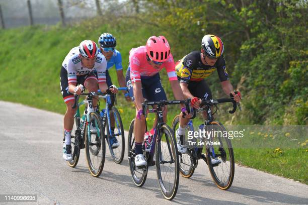 Matti Breschel of Denmark and Team Ef Education First / Nelson Oliveira of Portugal and Movistar Team / Lukas Pöstlberger of Austria and Team...
