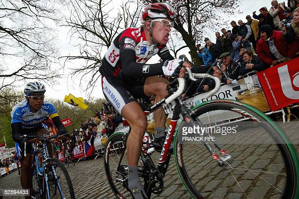 Matti Breschel rides during the 67Th GentWevelgem cycling race between Deinze and Wevelgem 06 April 2005 Belgian Nico Mattan won ahead of Spain Juan...