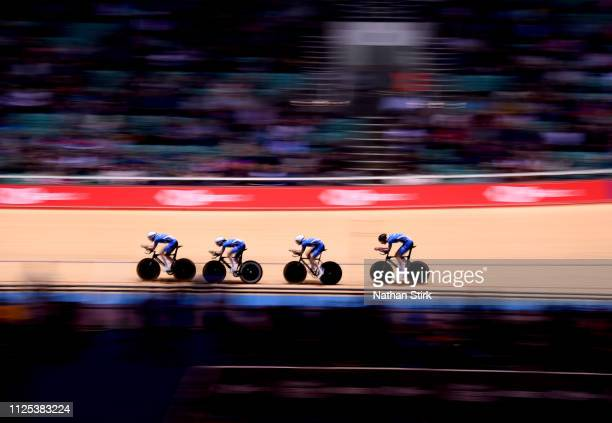 Matti Dobbins Alfie George Kyle Gordon and Joseph Nally of Scotland compete in the team pursuit during the National Track Championships at National...