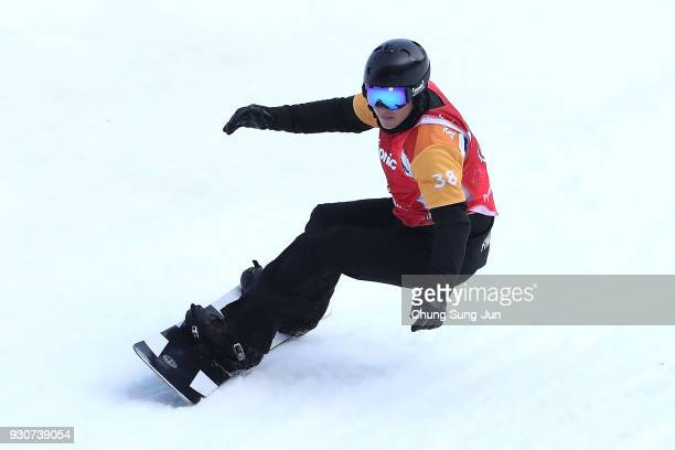 Matti Hamari Suur of Finland competes in the Snowboard Men's Snowboard Cross SBUL Final during day three of the PyeongChang 2018 Paralympic Games on...