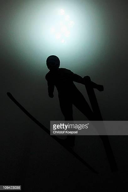 Matti Hautamaeki of Finland competes in the Men's Ski Jumping HS106 Qualification round during the FIS Nordic World Ski Championships at Holmenkollen...
