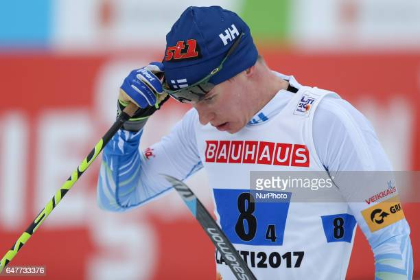 Matti Heikkinen compete during the men's crosscountry 4x10 km relay event of the 2017 FIS Nordic World Ski Championships in Lahti Finland on March 3...