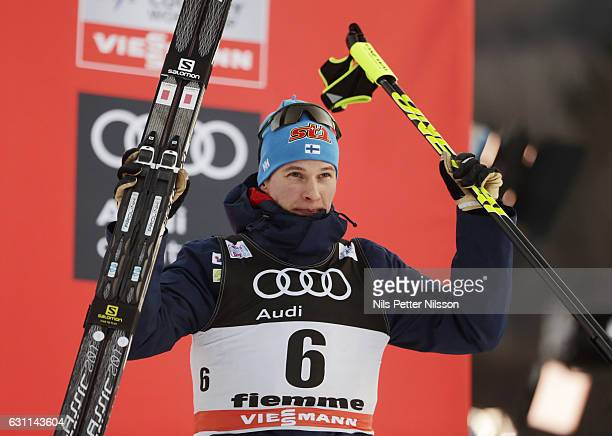 Matti Heikkinen of Finland celebrates his third place during the men's 15 km C Mass Start on January 7 2017 in Val di Fiemme Italy