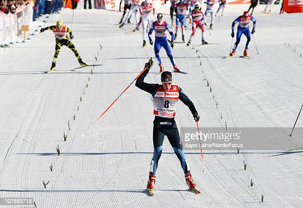 Matti Heikkinen of Finland celebrates winning the men's pursuit for the FIS Cross Country World Cup Tour de Ski on January 3 2011 in Oberstdorf...