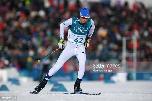 Matti Heikkinen of Finland competes during the CrossCountry Skiing Men's 15km Free at Alpensia CrossCountry Centre on February 16 2018 in...