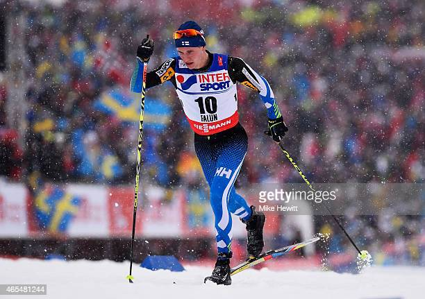 Matti Heikkinen of Finland competes during the Men's 50km Mass Start CrossCountry during the FIS Nordic World Ski Championships at the Lugnet venue...
