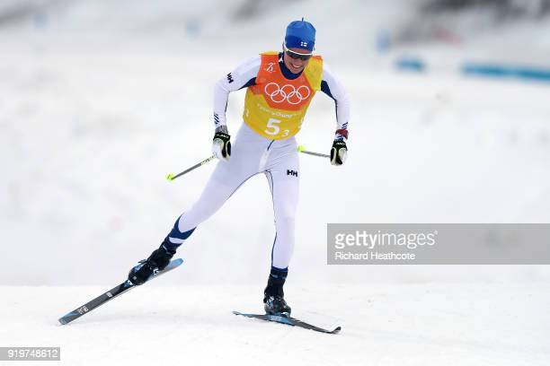Matti Heikkinen of Finland competes in the third leg during CrossCountry Skiing men's 4x10km relay on day nine of the PyeongChang 2018 Winter Olympic...