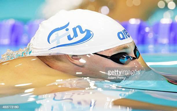 Matti Mattsson of Finland swims the Men's 100m Breastroke heats at Europa-Sportpark on August 18, 2014 in Berlin, Germany.