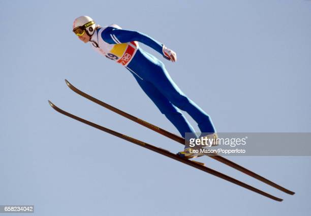 Matti Nykanen of Finland competing in a men's ski jumping event during the Winter Olympic Games in Calgary Canada February 1988 Nykanen won gold...