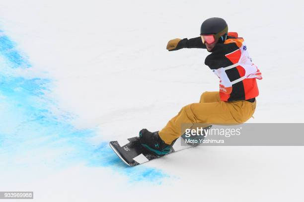 Matti Sairanen of Finland competes in the Snowboard Men's Banked Slalom SBUL Run 2 on day seven of the PyeongChang 2018 Paralympic Games on March 16...