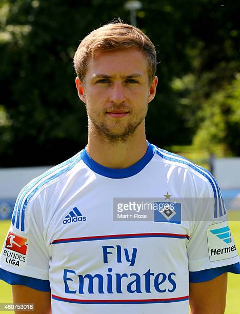 Matti Steinmann of Hamburger SV poses during the team presentation of Hamburger SV at Volksparkstadion on July 15 2015 in Hamburg Germany