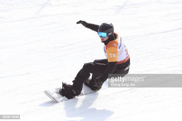 Matti Suur Hamari of Finland competes in the Men's Snowboard Cross at the Jeongseon Alpine Centre during day three of the PyeongChang 2018 Paralympic...