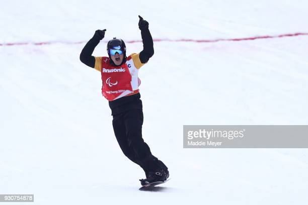 Matti SuurHamari of Finland celebrates winning the Gold medal in the Men's Snowboard Cross SBLL2 during day three of the PyeongChang 2018 Paralympic...