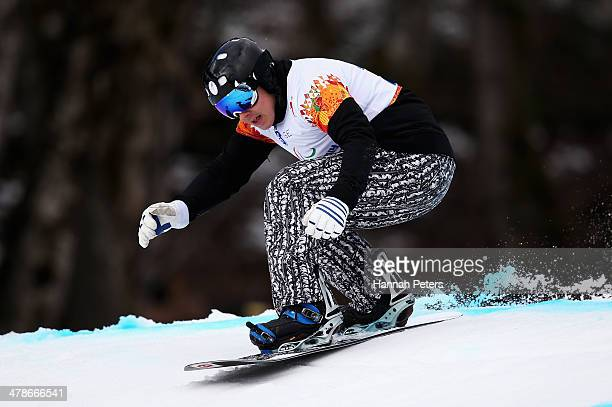 Matti SuurHamari of Finland competes during the Men's Para Snowboard Cross Standing on day seven of the Sochi 2014 Paralympic Winter Games at Rosa...