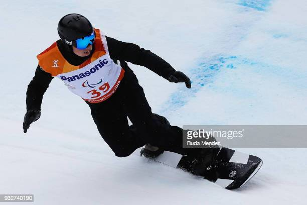 Matti SuurHamari of Finland competes during the Men's snowboard Slalom SBLL2 during day seven of the PyeongChang 2018 Paralympic Games on March 16...