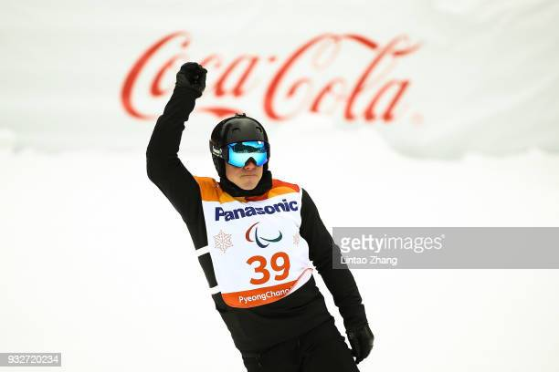 Matti SuurHamari of Finland reacts after competes in the Men's Banked Slalom SBUL Run 3 during day seven of the PyeongChang 2018 Paralympic Games on...