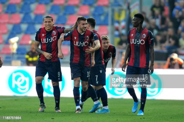 Mattia Bani of Bologna FC celebrates after scoring his team's second goal during the Serie A match between Bologna FC and UC Sampdoria at Stadio...