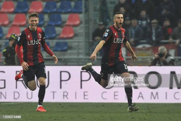 Mattia Bani of Bologna FC celebrates after scoring his team's second goal during the Serie A match between Bologna FC and Brescia Calcio at Stadio...