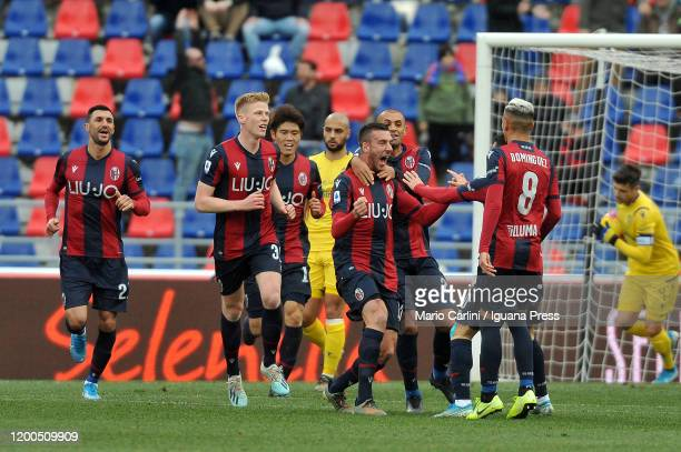 Mattia Bani of Bologna FC celebrates after scoring the opening goal during the Serie A match between Bologna FC and Hellas Verona at Stadio Renato...