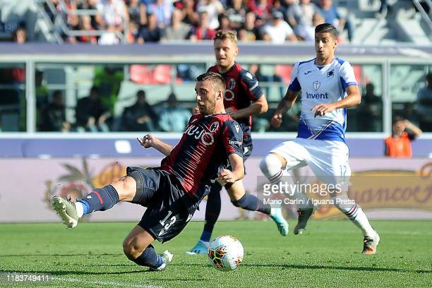 Mattia Bani of Bologna FC in action during the Serie A match between Bologna FC and UC Sampdoria at Stadio Renato Dall'Ara on October 27 2019 in...