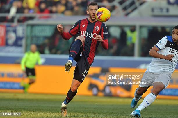 Mattia Bani of Bologna FC in action during the Serie A match between Bologna FC and Atalanta BC at Stadio Renato Dall'Ara on December 15 2019 in...