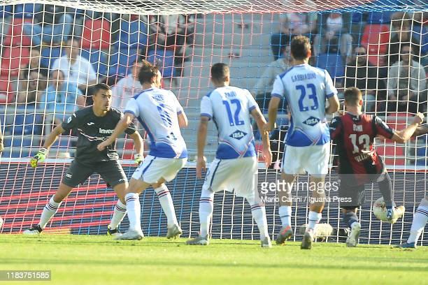 Mattia Bani of Bologna FC scores his team's second goal during the Serie A match between Bologna FC and UC Sampdoria at Stadio Renato Dall'Ara on...