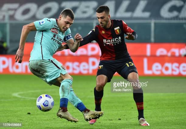 Mattia Bani of Genoa CFC opposed to Andrea Belotti of Torino FC before the Serie A match between Genoa CFC and Torino FC at Stadio Luigi Ferraris on...