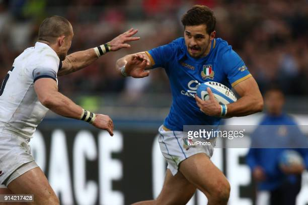 Mattia Bellini of Italy score for Italy during the Six Nations 2018 match between Italy and England at Olympic Stadium on February 04 2018 in Rome...