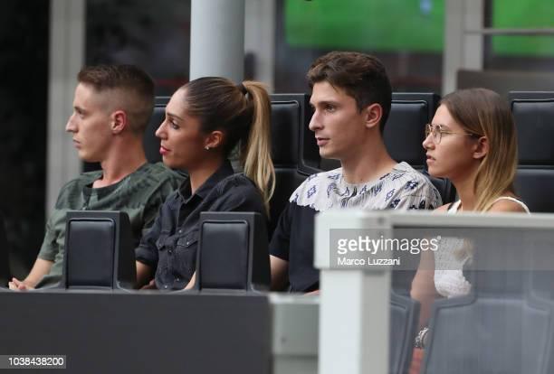 Mattia Caldara and Andrea Conti of AC Milan look on during the serie A match between AC Milan and Atalanta BC at Stadio Giuseppe Meazza on September...