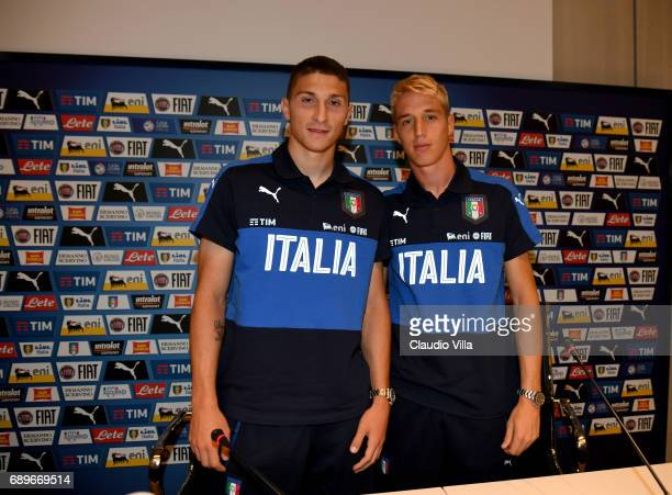 Mattia Caldara and Andrea Conti of Italy speak with the media during the press conference at Coverciano at Coverciano on May 29 2017 in Florence Italy