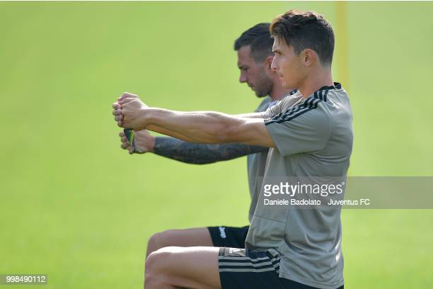 Mattia Caldara during a Juventus morning training session on July 14 2018 in Turin Italy