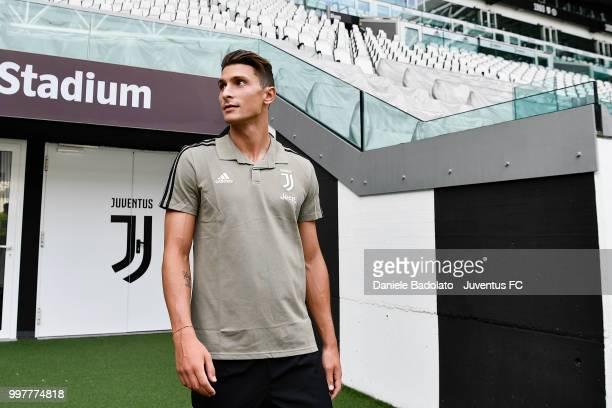 Mattia Caldara during a Juventus Press Conference at Juventus Allianz Stadium on July 13 2018 in Turin Italy