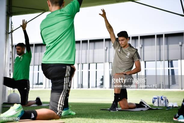 Mattia Caldara during a Juventus training session at Juventus Training Center on July 9 2018 in Turin Italy