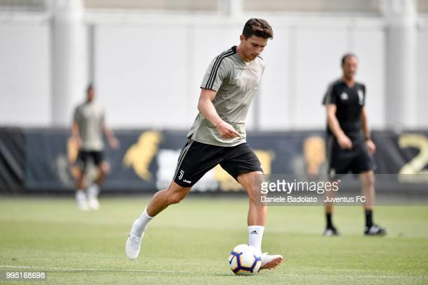 Mattia Caldara during a Juventus training session at Juventus Training Center on July 10 2018 in Turin Italy