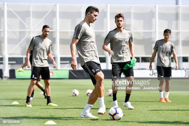 Mattia Caldara during a Juventus training session at Juventus Training Center on July 13 2018 in Turin Italy
