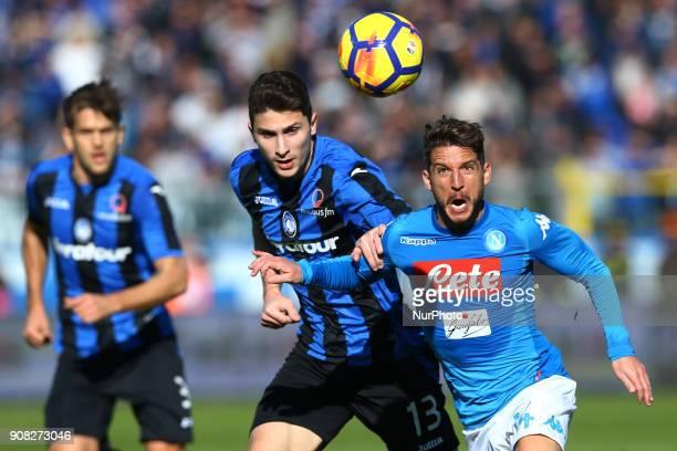 Mattia Caldara of Atalanta and Dries Mertens of Napoli during the Italian Serie A football match Atalanta Vs Napoli on January 21 2018 at the 'Atleti...