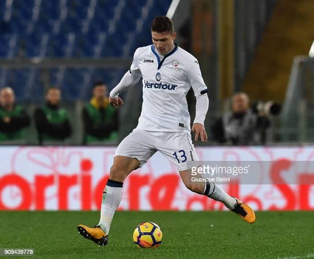 Mattia Caldara of Atalanta BC in action during the serie A match between AS Roma and Atalanta BC at Stadio Olimpico on January 6 2018 in Rome Italy