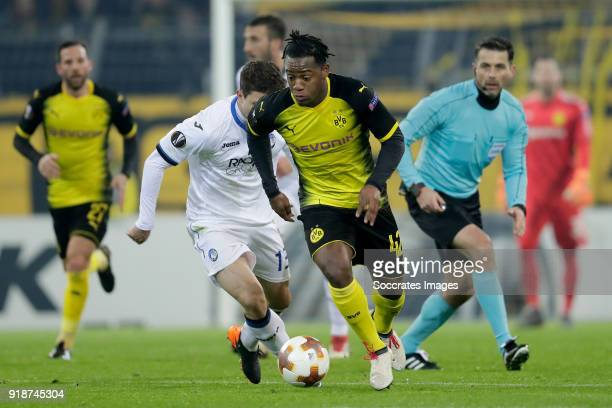 Mattia Caldara of Atalanta Michy Batshuayi of Borussia Dortmund during the UEFA Europa League match between Borussia Dortmund v Atalanta Bergamo at...