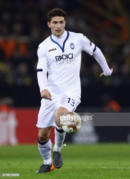 Mattia Caldara of Bergamo controls the ball during UEFA Europa League Round of 32 match between Borussia Dortmund and Atalanta Bergamo at the Signal...