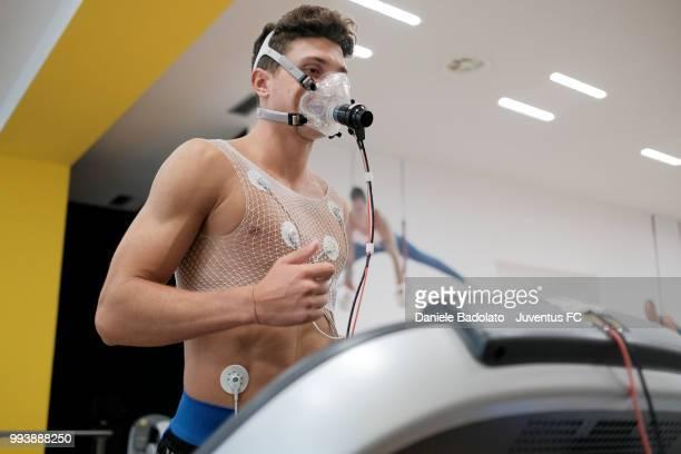 Mattia Caldara of Juventus attends medical tests at Jmedical on July 8 2018 in Turin Italy