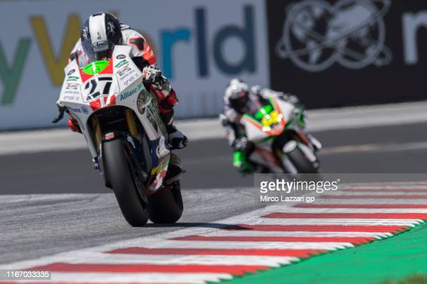 Mattia Casadei of Italy and Ongetta Sic58 SquadraCorse leads the field during the MotoGp of Austria - Free Practice at Red Bull Ring on August 09,...