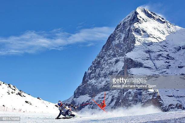 Mattia Casse of Italy competes during the Audi FIS Alpine Ski World Cup Men's Downhill Training on January 11 2017 in Wengen Switzerland