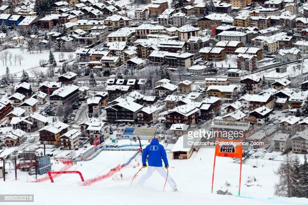 Mattia Casse of Italy inspects the course during the Audi FIS Alpine Ski World Cup Men's Downhill on December 28 2017 in Bormio Italy