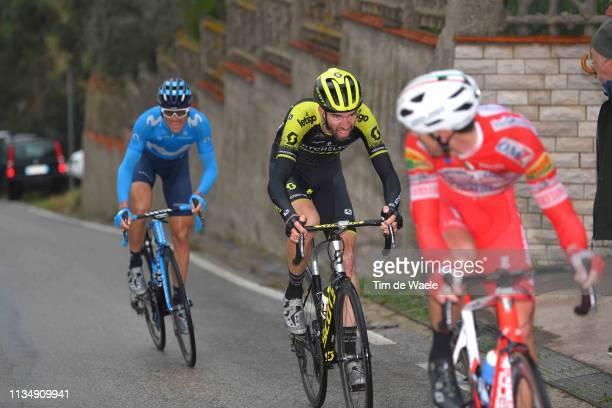 Mattia Cattaneo of Italy and Team Androni Giocattoli - Sidermec / Damien Howson of Australia and Team Mitchelton - Scott / Eduard Prades Reverte of...