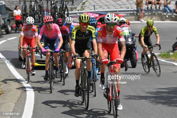Mattia Cattaneo of Italy and Team Androni Giocattoli Sidermec / Lucas Hamilton of Australia and Team Mitchelton Scott / Hugh Carthy of United Kingdom...