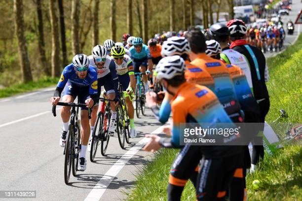 Mattia Cattaneo of Italy and Team Deceuninck - Quick-Step, Julien Bernard of France and Team Trek - Segafredo, Maurits Lammertink of Netherlands and...