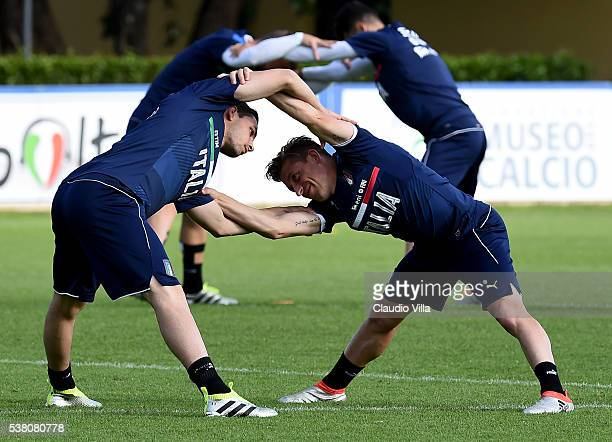 Mattia De Sciglio and Emanuele Giaccherini of Italy in action during the Italy training session at the club's training ground at Coverciano on June...