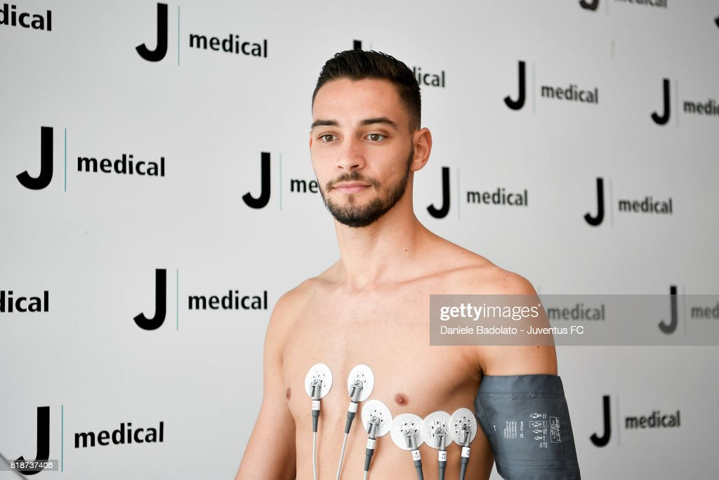 Mattia De Sciglio attends medical tests on July 19, 2017 in Turin, Italy.